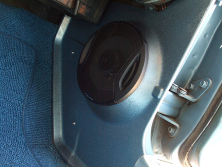 New lower right kick panel with speaker.